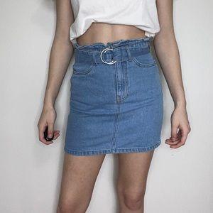 H&M Belted Denim Mini Skirt